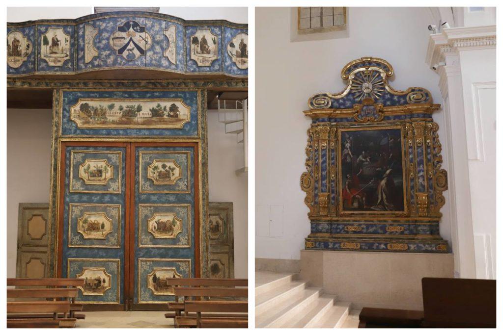 portale e dossale con il quadro sulla circoncisione di gesù